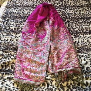 Beautiful pink and tan pashmina scarf